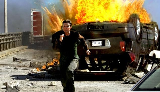 Tom Cruise como siempre corriendo en Misión imposible 3.